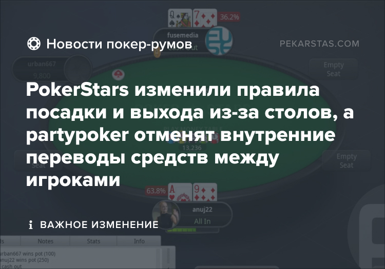 pokerstars новые правила partypoker переводы
